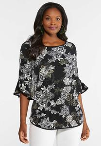 Plus Size Floral Puff Bell Sleeve Top