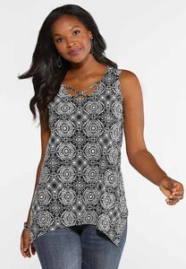 Plus Size Medallion Puff Print Tank