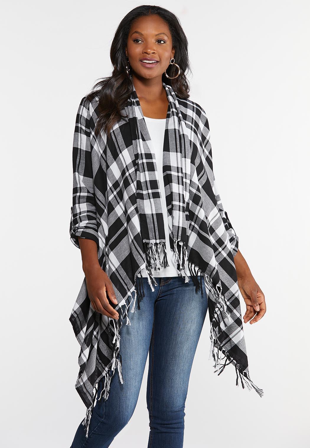 Plus Size Plaid Waterfall Jacket Fashion Cato Fashions