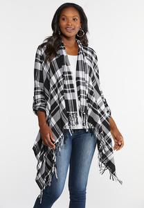 Plus Size Plaid Waterfall Jacket