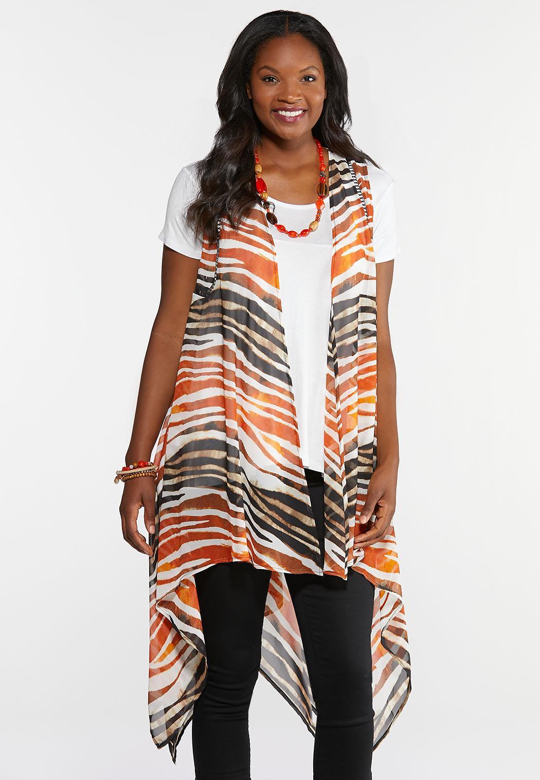 Plus Size Sheer Tiger Print Vest