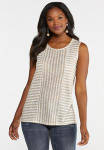 Plus Size Striped Yoke Tank