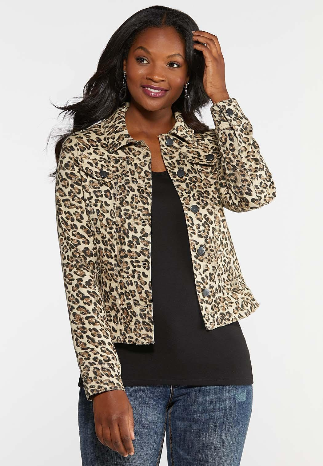 Plus Size Cheetah Denim Jacket
