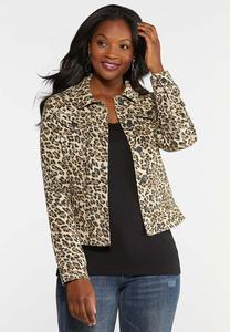 Plus Size Cheetah Denim Jacket