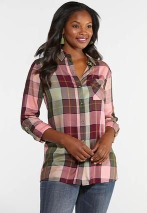 Pink Plaid Button Down Top