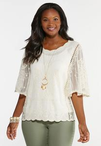 Embroidered Angel Sleeve Top