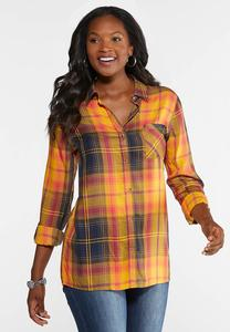 Plus Size Sunset Plaid Tunic Top