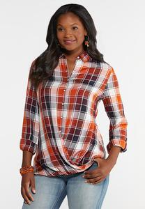 Plus Size Twisted Hem Plaid Top