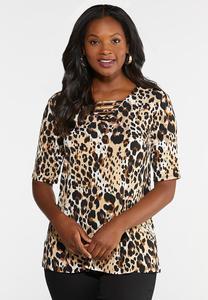 Lattice Neck Leopard Top