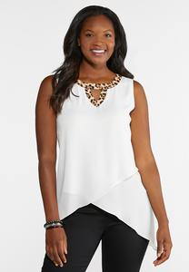 Plus Size Leopard Trim Tank