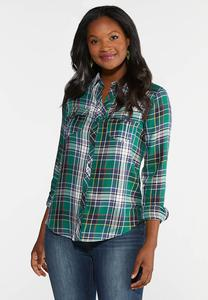Plus Size Green Plaid Button Down Top