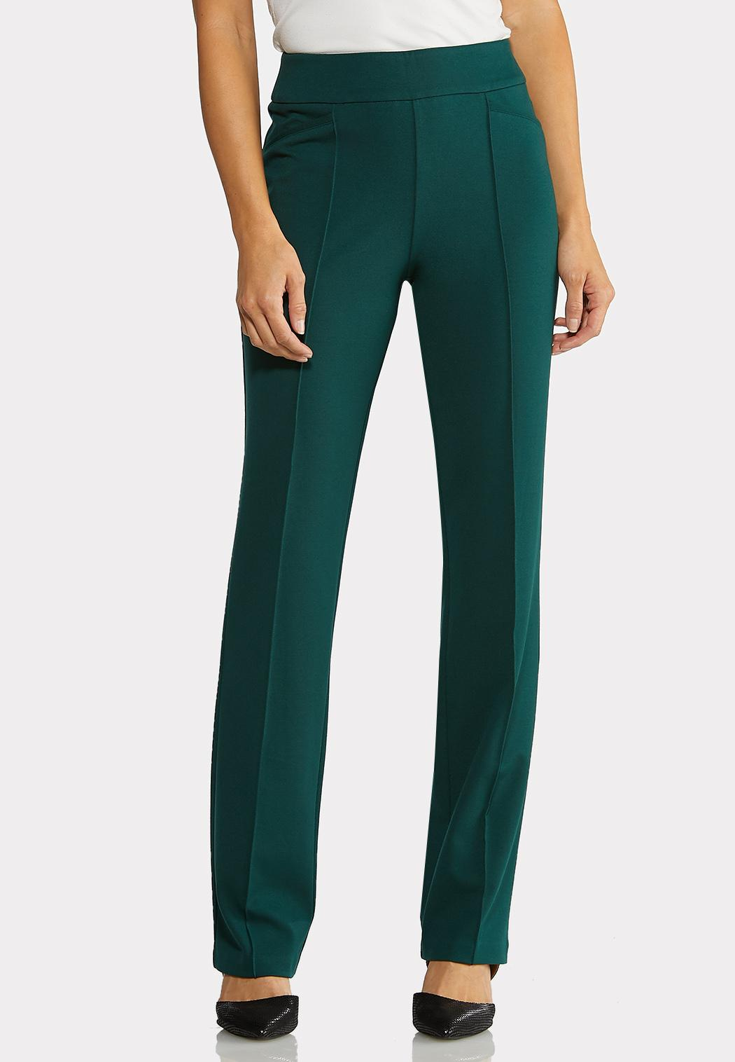 Petite Pintuck Straight Leg Ponte Pants