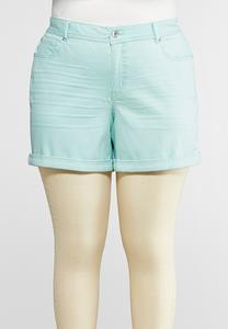 Plus Size Colored Denim Shorts