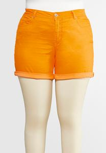 Plus Size Colored Denim Shorts
