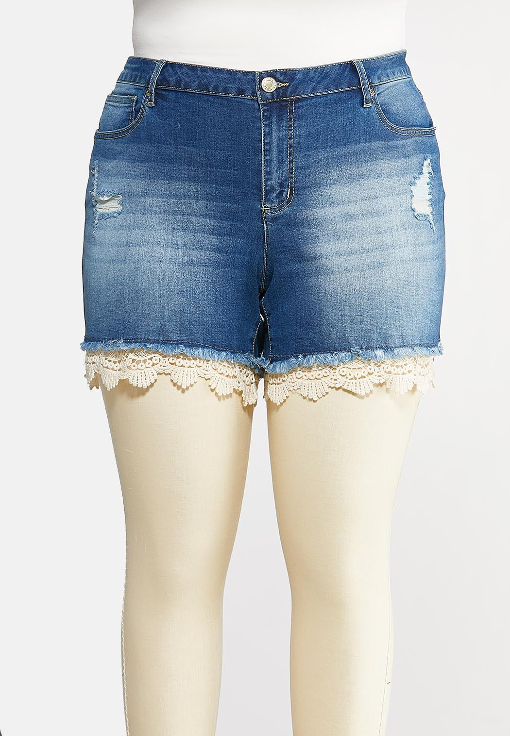 Plus Size Curvy Crochet Hem Denim Shorts