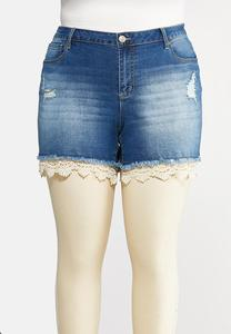 Plus Size Curvy Crochet Hem Denim Shorts
