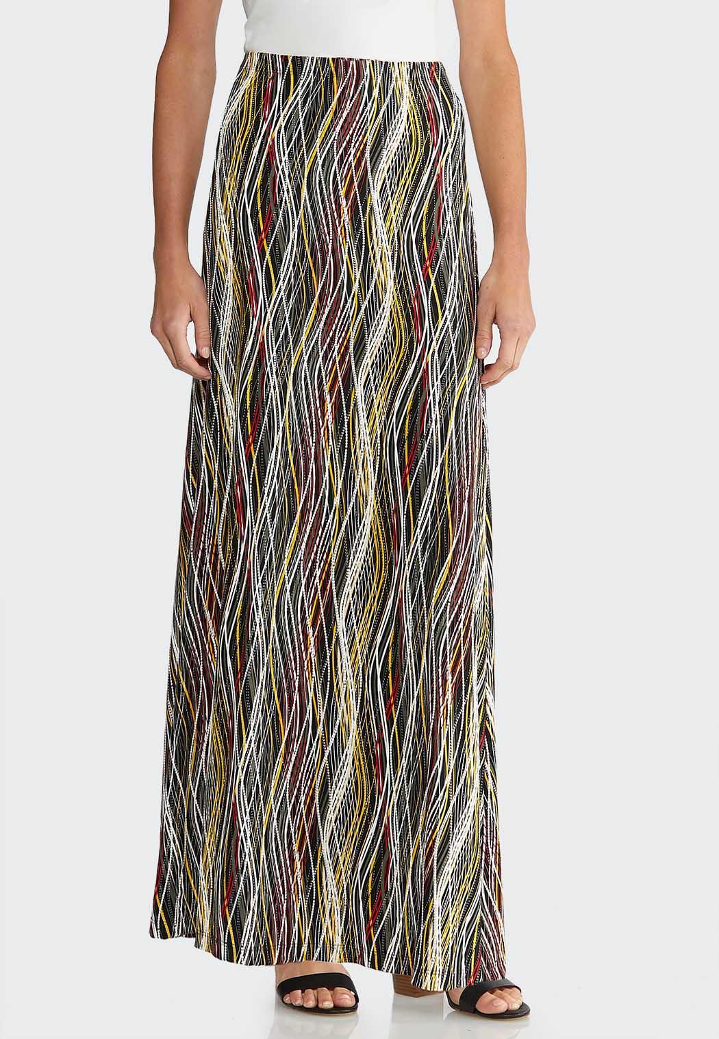 Plus Size Puff Wavy Maxi Skirt