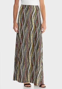 Plus Size Puff Wavy Maxi Skirt