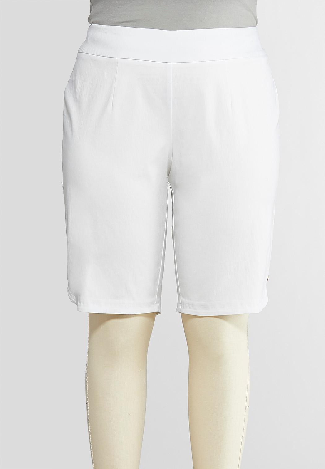Plus Size Sparkling Grommet Bermuda Shorts