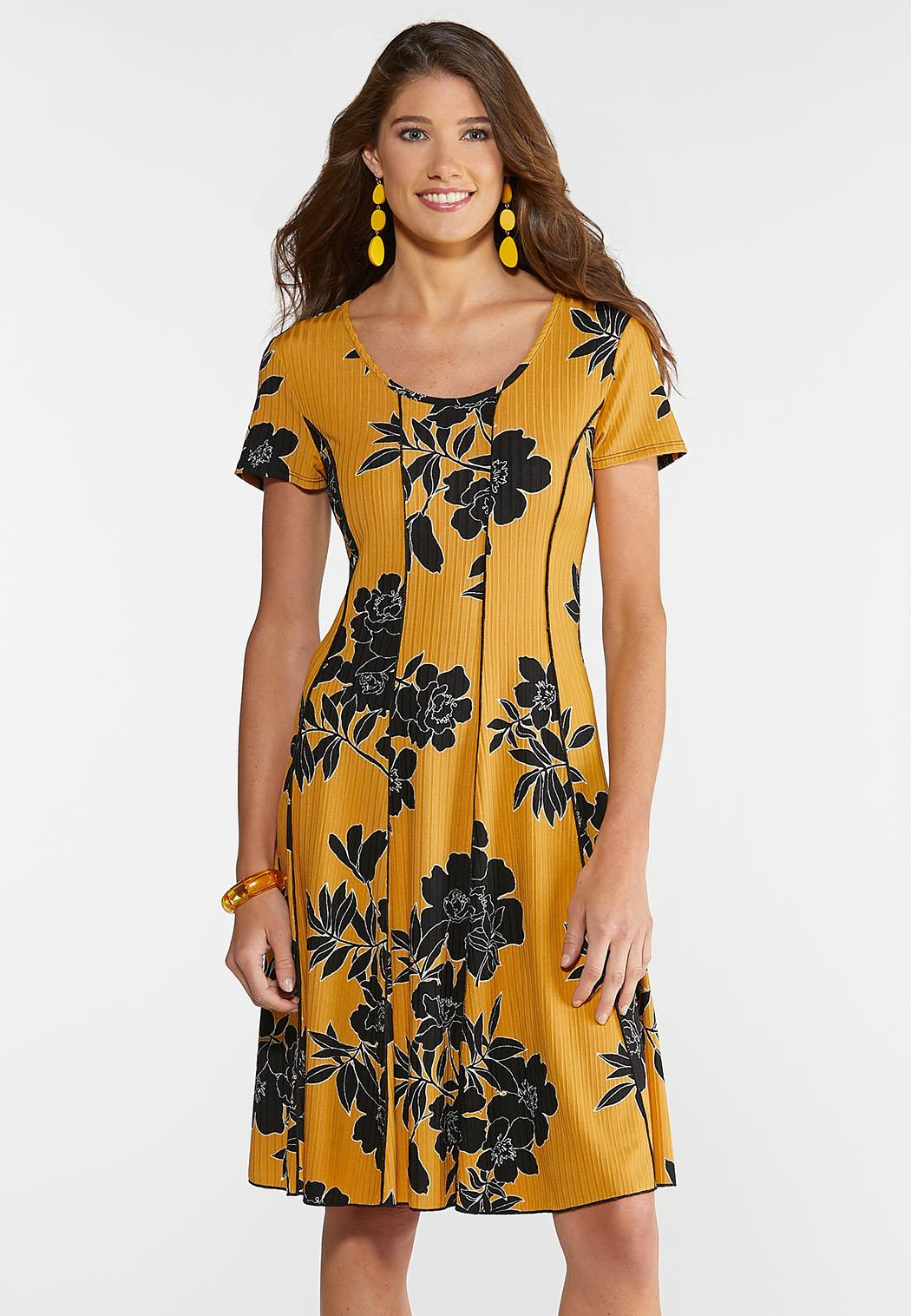Plus Size Seamed Tattoo Flower Dress A- Line & Amp ; Swing Cato Fashions