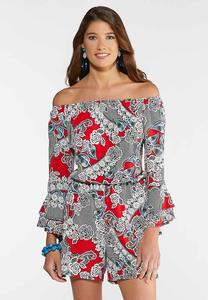 Puff Floral Off The Shoulder Romper