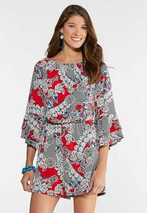 Plus Size Puff Floral Off The Shoulder Romper