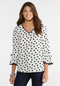 Crepe Polka Dot Poet Top