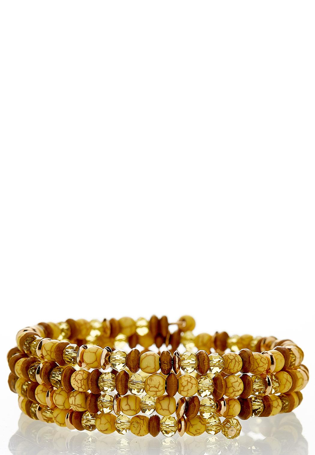 Dainty Mixed Bead Coil Bracelet