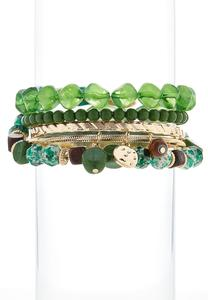 Beads And Metal Bangle Set
