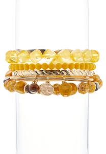 Beads And Metal Bangle Set
