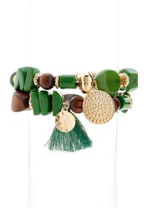 Tasseled Stretch Bracelet Set