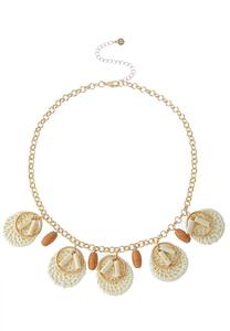Dangle Raffia Disc Necklace
