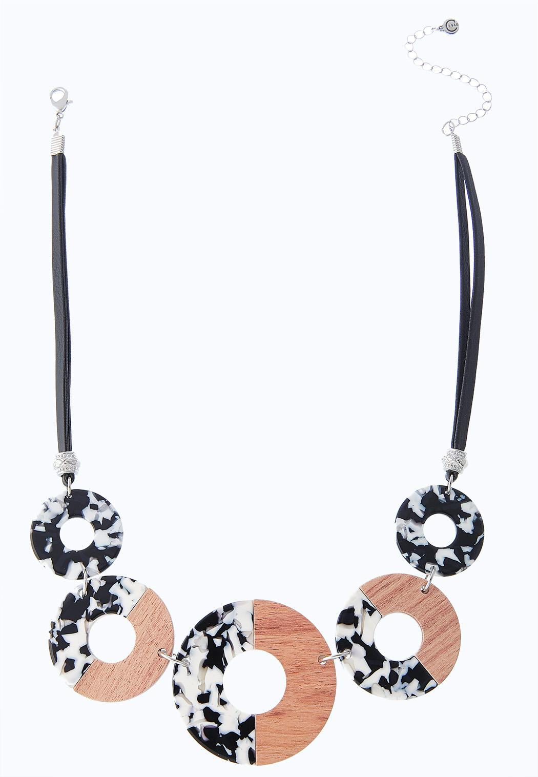 Wood And Lucite Cord Necklace