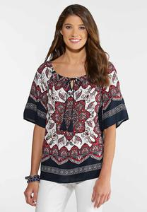 Navy Medallion Poet Top