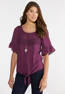 Plus Size Lacy Ruffled Tie Hem Top