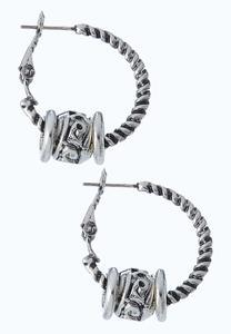 Charmed Antique Silver Hoop Earrings