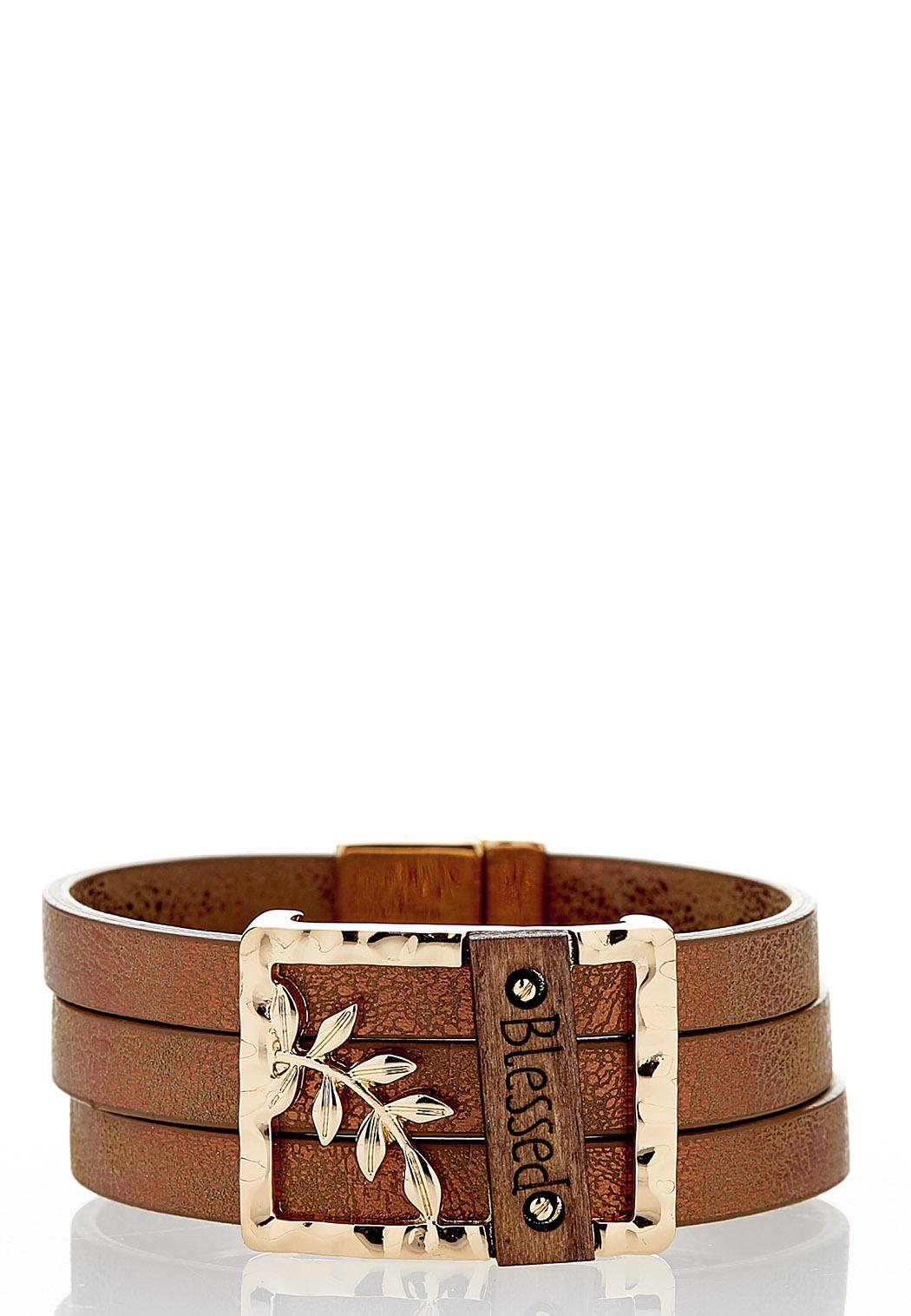 Blessed Faux Leather Bracelet