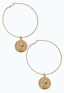 Coin Charm Hoop Earrings