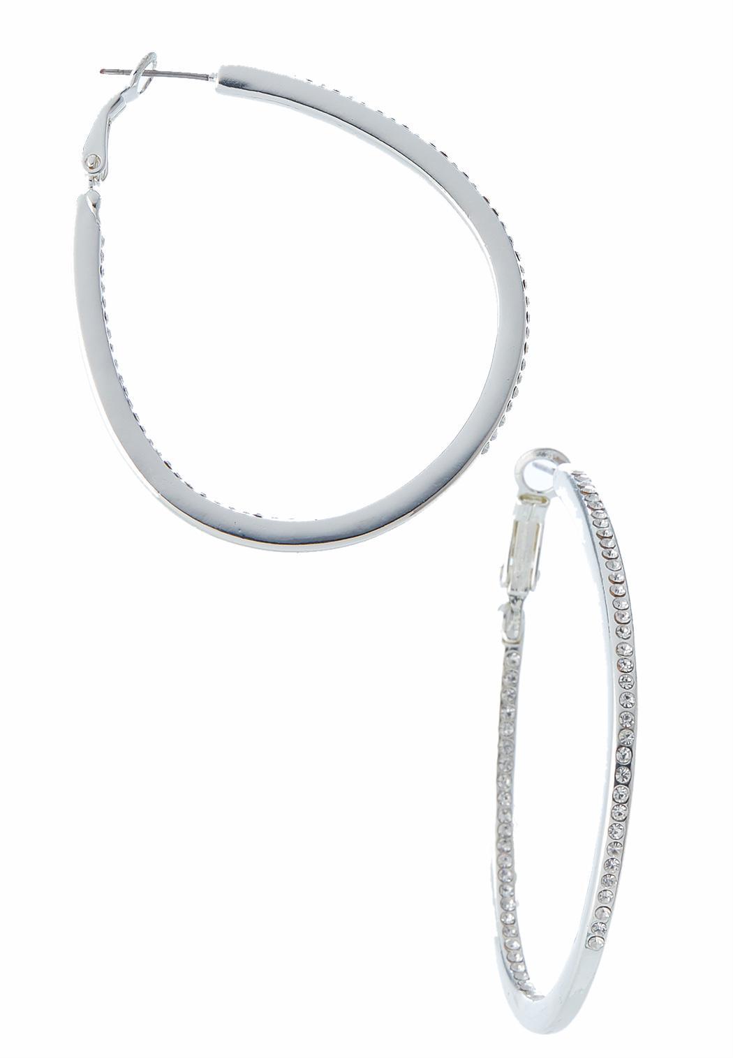 Rhinestone Inside Out Hoop Earrings