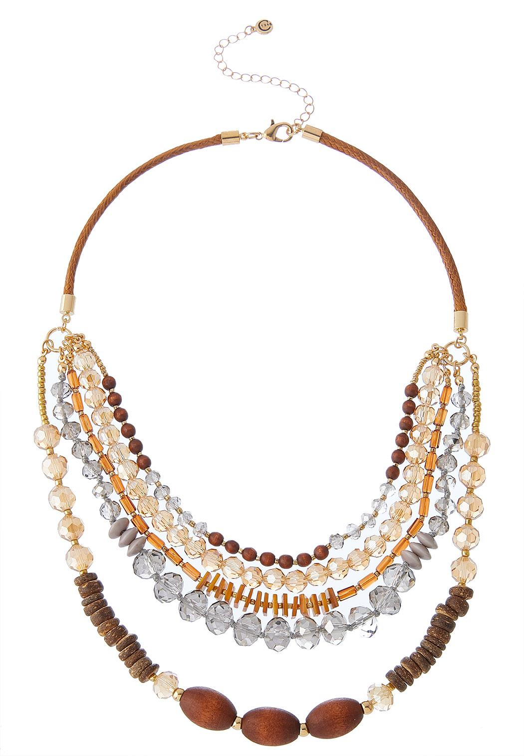 Layered Mixed Material Necklace