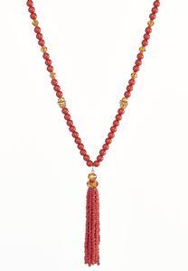 Long Beaded Tassel Necklace