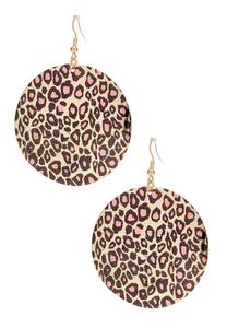 Pink Leopard Disc Earrings