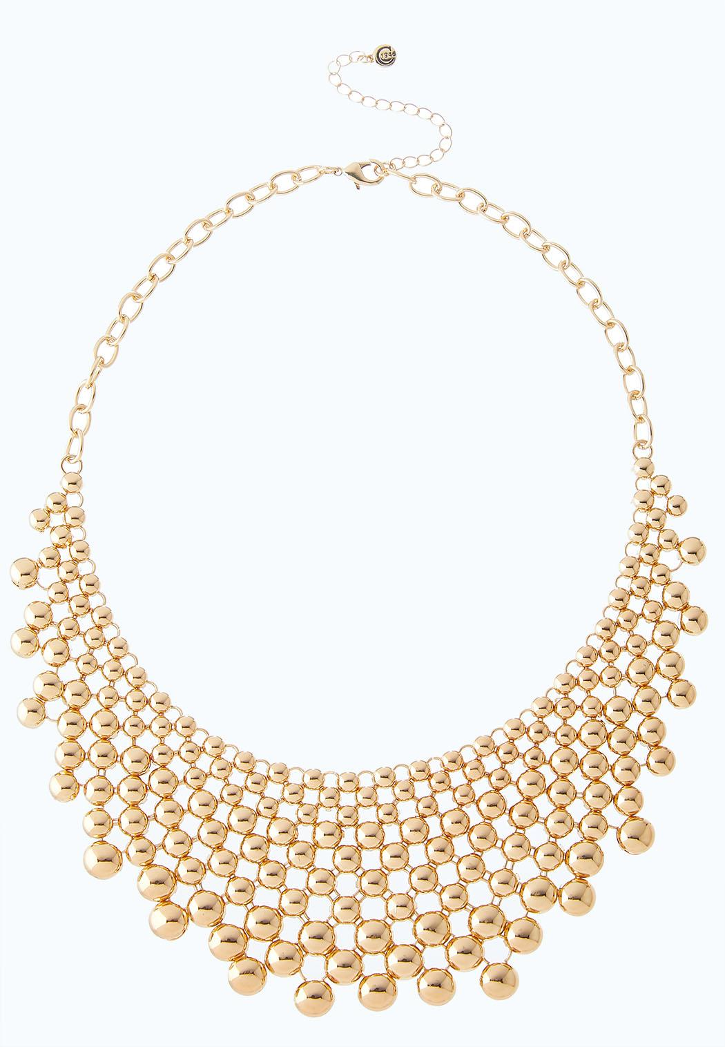 Gold Beaded Bib Necklace