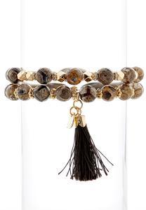 Tassel Bead Stretch Bracelet Set
