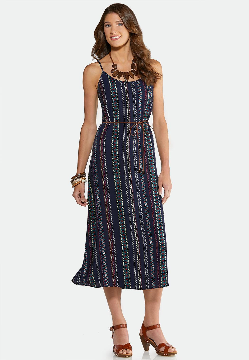 Zig-Zag Stripe Slip Dress