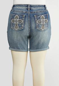 Plus Size Cross Pocket Denim Shorts