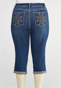 Plus Size Cropped Embellished Pocket Jeans