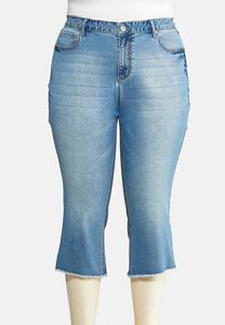 Plus Size Cropped Raw Hem Jeans