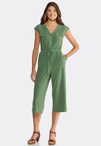 Cropped Utility Jumpsuit