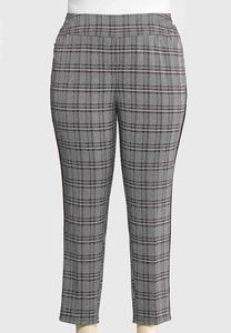 Plus Size Plaid Knit Pants